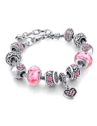 Capital Charms Silver Charm Bracelets for Women and Girls - Custom Gifts, Crystal Beads and Universal Fit
