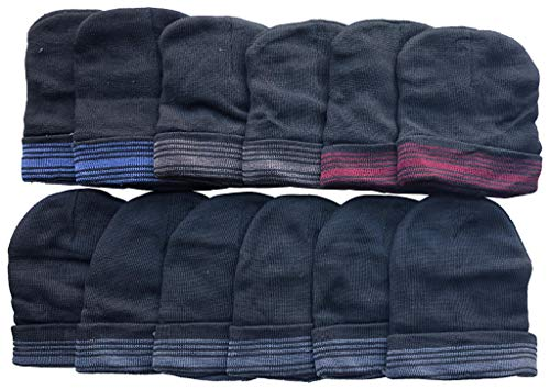 12 Pack Beanie Winter Hats Men Women, Ribbed, Cuff Skullcap Warm Thermal Hat (12 Pack Stripe)