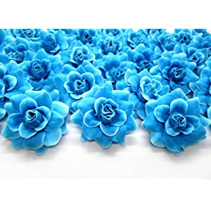 "(100) Silk Blue Diamond Roses Flower Head - 1.75"" - Artificial Flowers Heads Fabric Floral Supplies Wholesale Lot for Wedding Flowers Accessories Make Bridal Hair Clips Headbands Dress 110"