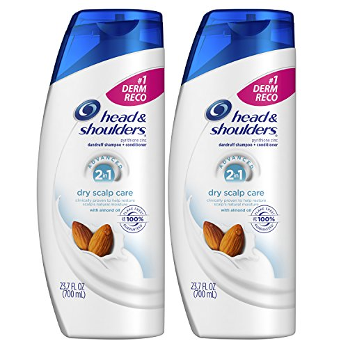 Head and Shoulders, Shampoo and Conditioner 2 in 1, Anti Dandruff, Dry Scalp Care with Almond Oil, 23.7 fl oz, Twin Pack