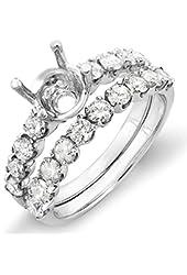 1.00 Carat (ctw) 14k White Gold Round Diamond Ladies Semi Mount Ring Wedding Band Set (No Center Stone)