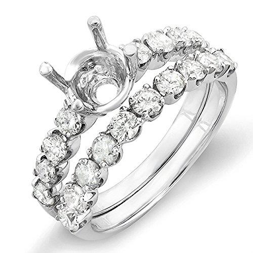 - Dazzlingrock Collection 1.00 Carat (Ctw) 14k Round Diamond Ladies Bridal Semi Mount Ring Set with Matching Wedding Band (No Center Stone), White Gold, Size 8.5