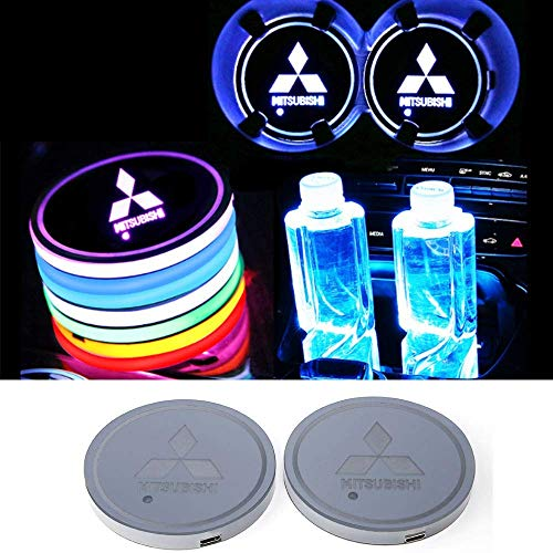 JSAMZ Car Logo LED Cup Pad led Cup Coaster USB Charging Mat Luminescent Cup Pad LED Mat Interior Atmosphere Lamp Decoration Light (Mitsubishi) from Forno