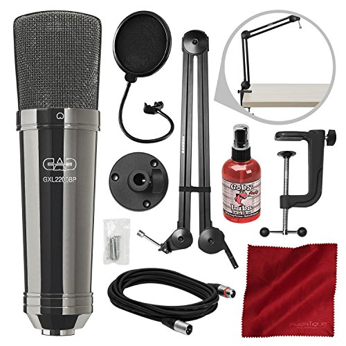 CAD GXL2200BP Cardioid Condenser Microphone (Black Pearl Chrome Finish) with Samson MBA28 Microphone Boom Arm and Platinum Mic Bundle