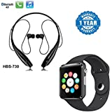 Captcha Mi Redmi Note 4G Compatible Certified Hbs-730 Bluetooth Stereo Headset & S31 Bluetooth Smart Wrist Watch With Camera