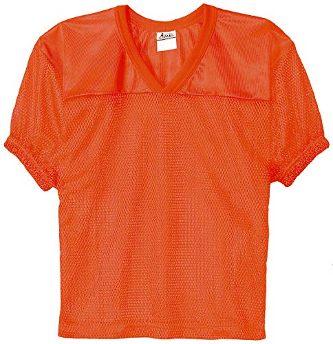 Adams Adult Football Jerseys, Porthole Mesh Practice Jersey with Dazzle Shoulders and Elastic Sleeves, Orange, Small/Medium