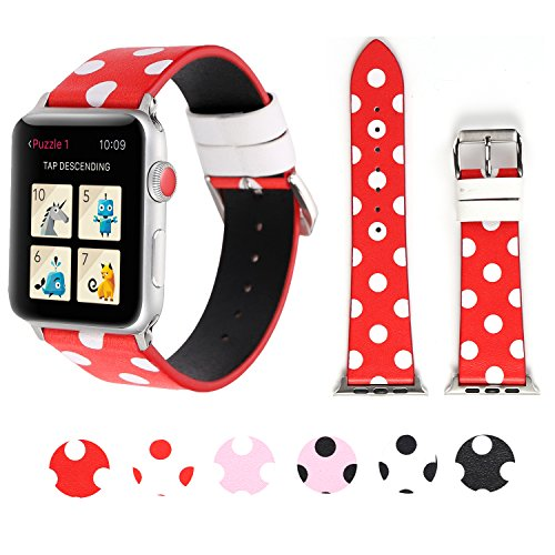 Sport Band for Apple Watch 38mm 42mm, iWatch Strap Replacement with Polka Dot Floral Print Leather Bracelet Wristband for Apple Watch Series 3,2,1, NIKE+, Hermes, Edition (Red white polka dot, 38mm) ()