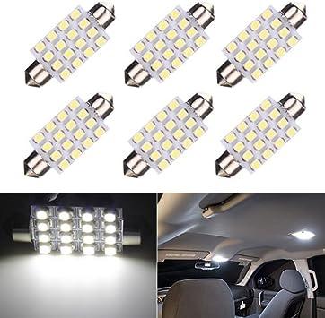 White DC 12V 3528 SMD 16 LED 42mm Interior Reading Bulb Car Festoon Dome Light