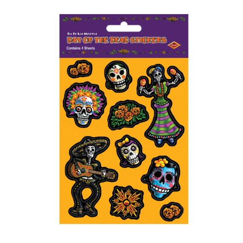 [Beistle Day of The Dead Stickers, 4 Sheets] (Day Of The Dead Supplies)
