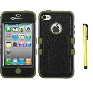 Fits Apple iPhone 4 4S Hard Plastic Snap on Cover Natural Black/Yellowish Green TUFF Hybrid AT&T, Verizon (does NOT fit Apple iPhone or iPhone 3G/3GS or iPhone 5)