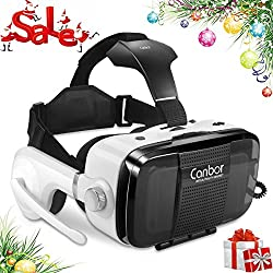 Canbor Virtual Reality Headset, VR Headset VR Goggles Built-in Stereo Headphones Microphone for 3D Movies and Games Compatible with 4.7-6.2 Inches Apple iPhone, Samsung More Smartphones