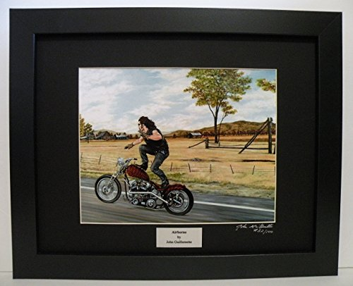 (Indian Larry Paul Cox Bobber, Limited Edition Custom Framed Motorcycle Print, Biker Wall Art Signed with Certificate - Original Painting by John Guillemette)