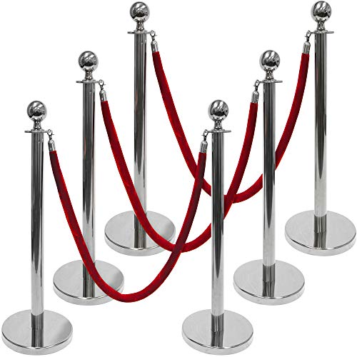 3-Foot Polished Ball Top Stanchions 6-Pack | Includes 4.5-Foot Red Velvet Rope (Silver) -