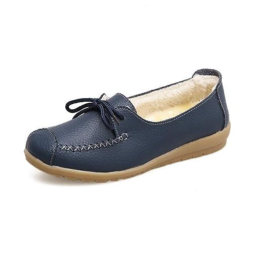 Mocasines Planos para Mujer Calzado De Piel De Felpa Zapato De AlgodóN Invierno Arco Casual Cuero