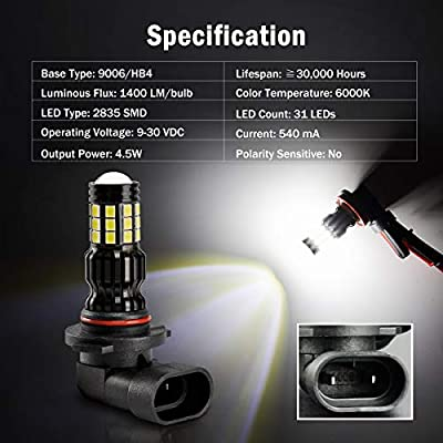 9006 HB4 LED Fog Light Bulbs White 1400 Lumens Super Bright with Projector for DRL or Fog Lamps YITAMOTOR Brighter Output 144 Chipsets