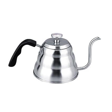Fdit - Tetera de café con termómetro (Acero Inoxidable 304, Cuello de Cisne y Tetera para Goteo a Mano), 1 litro