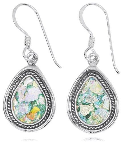 Sterling Silver Pear Shape Roman Glass French Wire Earrings (BTTS-NEA2712-RG)