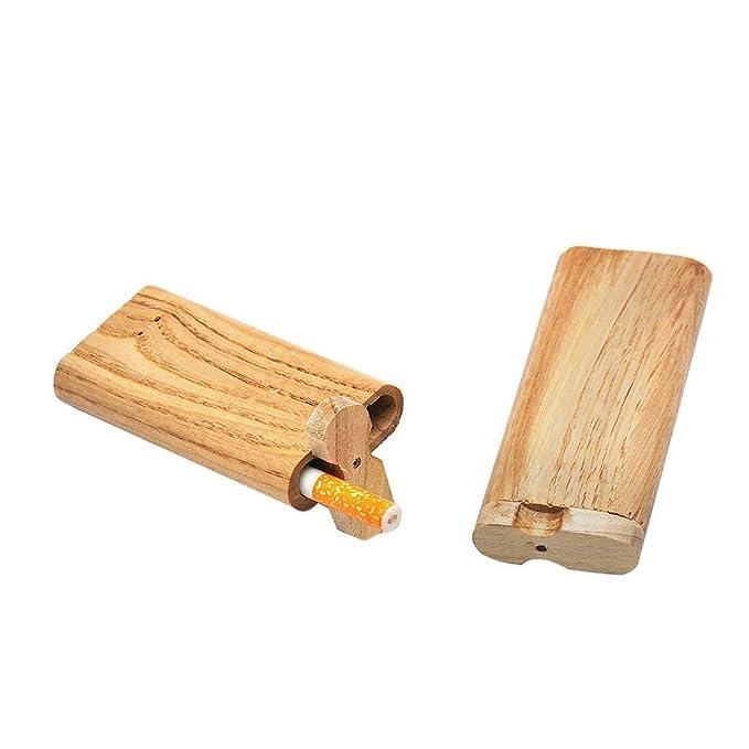 Amazon.com: Caja de madera manual para cigarrillos con tapa ...