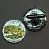 Arizona Statehood Quarter - Gorgeous 2 Toned(Uniquely Hand Done) Gold on Silver coin cufflinks for men - men's jewelry men's accessories for him groomsmen