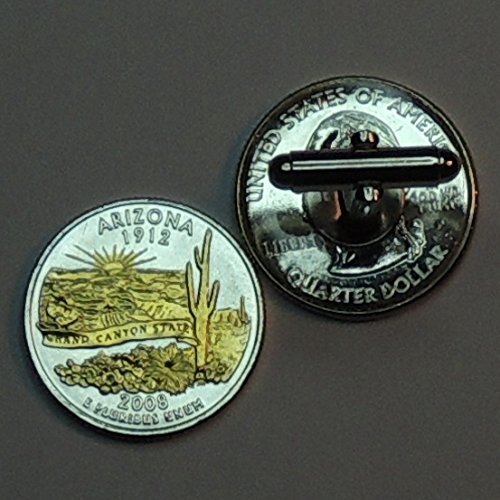Arizona Statehood Quarter - Gorgeous 2 Toned (Uniquely Hand Done) Gold on Silver coin cufflinks for men - men's jewelry men's accessories for him groomsmen by J&J Coin Jewelry