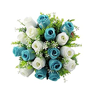 FILOL 18 Heads Artificial Flower Fake Roses Bouquet, Real Touch Silk Velvet Blossom Bridal for Wedding Garden Home Office Decorations (D) 19