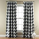 Lush Decor Chevron Blackout Window Curtain, 84 by 52-Inch, Gray, Set of 2