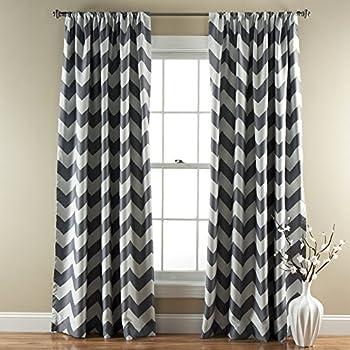Beautiful This Item Lush Decor Chevron Room Darkening Window Curtain Panel, 84 Inch X  52 Inch, Gray, Set Of 2
