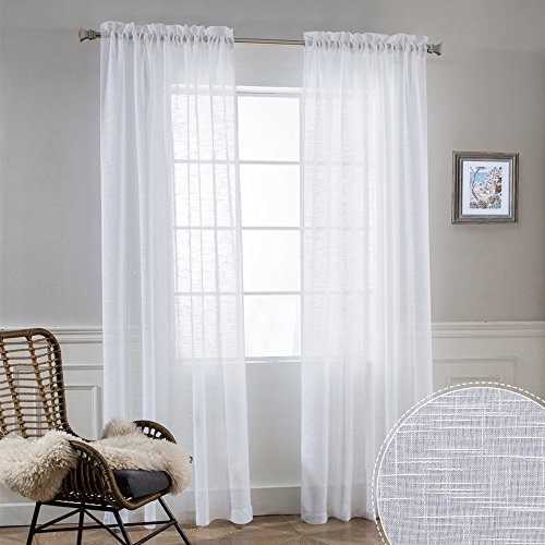 White Sheer Curtains 84 inches Long - Bedroom Window Treatment Drapes Sunlight Filtering Privacy Semi Sheer for Living Room Sliding Glass Door Dining Christmas Decor, W 52 x L 84 inch, 1 Pair
