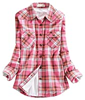 Chouyatou Women's Winter Fleece Lined Plaid Flannel Buttoned Shirt