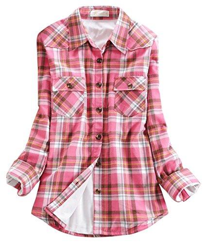 - chouyatou Women's Winter Fleece Lined Plaid Flannel Buttoned Shirt (Small, KU144)