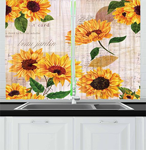 Lunarable Sunflower Kitchen Curtains, Romantic Flowers on Old Fashioned Letters Postcards Newspapers, Window Drapes 2 Panel Set for Kitchen Cafe, 55 W X 39 L Inches, Fern Green Marigold Beige