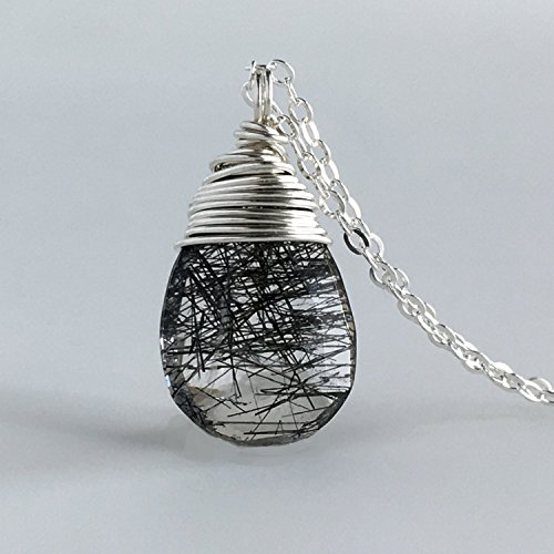 Tourmalated or Rutilated Crystal Quartz Pendant Necklace - Sterling Silver - Custom lengths