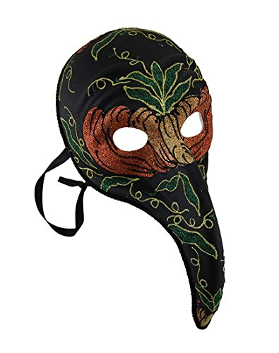 Black Plague Doctor Style Long Curved Nose Fancy Carnival Mask -