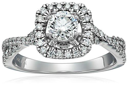 IGI Certified 14k White Gold Diamond Halo Twist Engagemen...