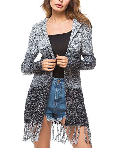 - Womens Color Block Cardigan Tiedye Sweater Coat Open Front Cable Knit Sweater
