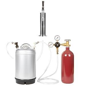 Nitro Coffee Cold Brew Coffee Keg Kit - 3 Gallon Keg, Nitrogen Tank, Tap, and More