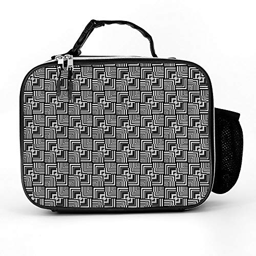 Black White Geometric Op Art Optical Illusion Effect Modern Lunch Box with Padded Liner, Spacious Insulated Lunch Bag, Durable Thermal Lunch Cooler Pack for Boys Men Women Girls Adults