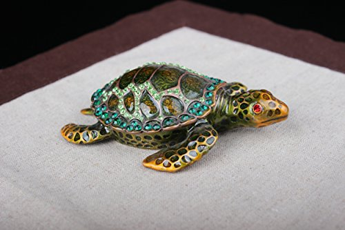 znewlook Gorgeous Tortoise Jeweled Trinket Box Jewelry Turtle Souvenir Pewter Jewelry Box (Green, 11.573.5 cm (LWH)