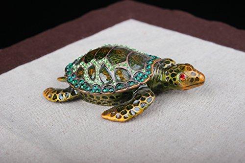 - Gorgeous Tortoise Jeweled Trinket Box Jewelry Turtle Souvenir Pewter Jewelry Box (Green, 11.5*7*3.5 CM (L*W*H)