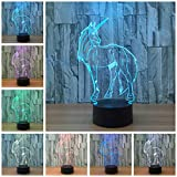 Circle Circle Unicorn 3D Optical Illusion Lamp 7 Colors Change Touch Button and 15 Keys Remote Control LED Night Light Perfect Gifts Toys for Children Kids
