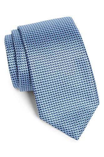 Blue Geometric Woven Silk Tie - Hugo Boss Geometric Textured Woven Italian Silk Tie, Pastel Blue 50401234