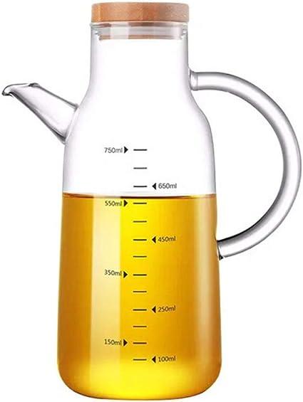 UPKOCH Botella de Vinagre de Aceite de Vidrio de 550 Ml Botella Dispensadora de Aceite de Oliva Recipiente de Aceite de Oliva con Mango de Tapa de Bamb/ú para Cocina