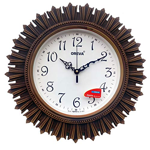 Oreva Plastic Wooden Look Designer Wall Clock (32.5 x 32.5 x 4.8 cm, Wood, AQ 6197)