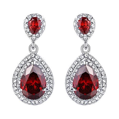 EVER FAITH Women's Austrian Crystal Cubic Zirconia Tear Drop Dangle Earrings Garnet Color Silver-Tone
