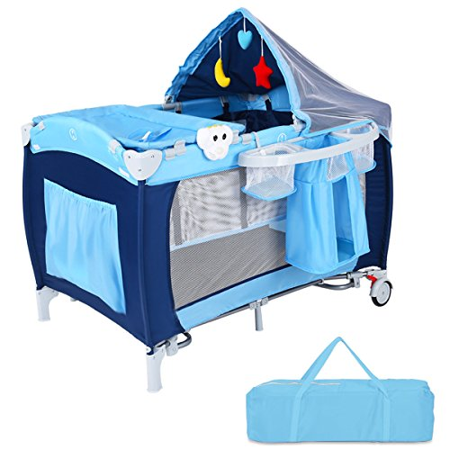 Costzon Baby Playard, Reversible Napper and Changer, Travel Infant Bassinet Bed with Music, Net (Blue)