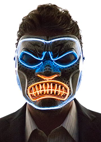 Cheap Clown Mask (Neon Nightlife Men's Light Up Gorilla Mask, Blue, Orange & White)