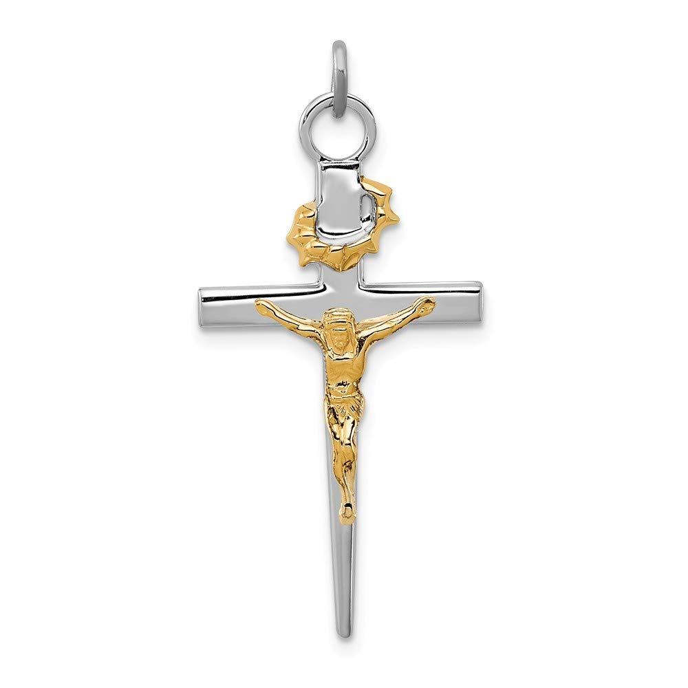 Sonia Jewels Sterling Silver /& Gold-Tone INRI Crucifix Cross Pendant