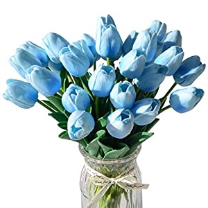 LUYAR 30 PCS Artificial Real-Touch Tulips, Fake Tulips Flowers - Holland Mini Faux Flowers Tulips Great for Wedding Party Home & Outdoor Decor 2
