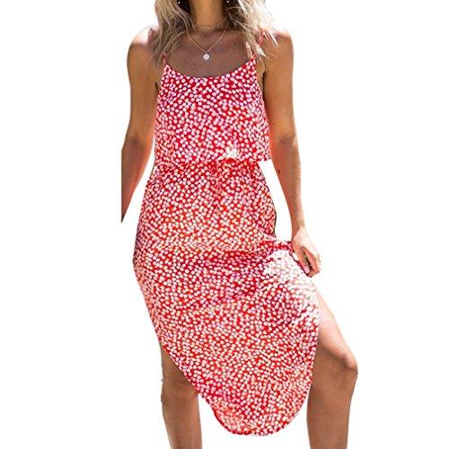 Estate Vestito per Donne - Sexy Fuori dalla Spalla Senza Schienale Casual Vestito Lungo Moda Stile Boho Swing Tops Abito per Estate 0868 Rosso