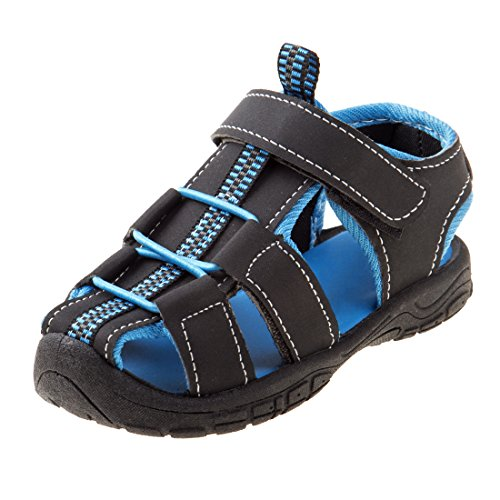 Rugged Bear Boys Fisherman Sandal, Black/Blue, 3 M US Big Kid'